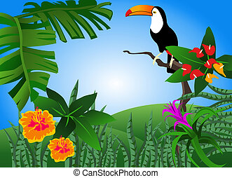 Toucan - Illustration of a tropical scene with flowers and a...
