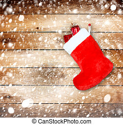 de madera, bota, regalos, pared, Plano de fondo, navidad,...