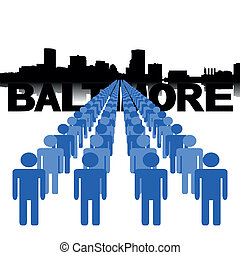 people with Baltimore skyline - Lines of people with...