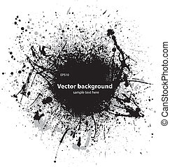 Black grunge ink blots - Black ink splash with sample text...