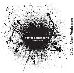 Black grunge ink blots - Black ink splash with sample text...