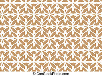 Retro Seamless Brown Stylized Flower Pattern Background -...
