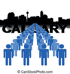 people with Calgary skyline - Lines of people with Calgary...