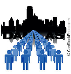 people with Dallas skyline - Lines of people with Dallas...