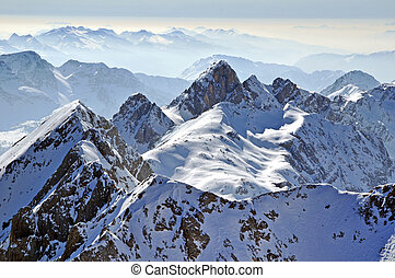 Mountain winter landscape. Dolomite mountains, Italy
