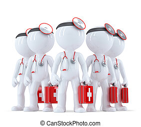 Group of doctors. 3d illustration. Isolated. Contains clipping path