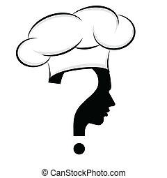 Chef, question mark human head symbol, vector