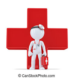 3d doctor in front of giant red cross Isolated Contains...