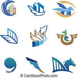 Business icons with horse and houses - Real estate, travel...