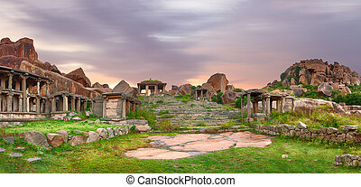 Stairs in the Hampi ancient hindu city - ancient indian city...