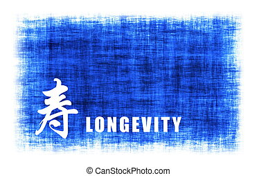 Chinese Art - Longevity - Chinese Art for Longevity on Blue...