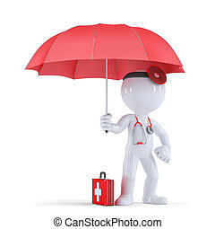 Doctor with umbrella. Health protection concept. Isolated. Contains clipping path