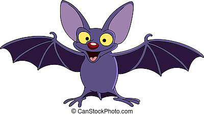 Bat with spread wings - Cartoon bat spreading his wings