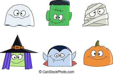 Halloween faces - Halloween characters faces set Ghost,...