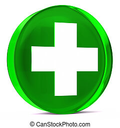 Health Services Green - Round glass icon with white health...