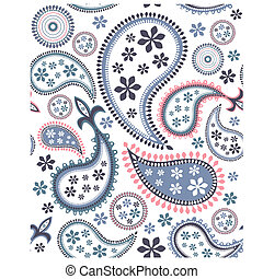 Seamless paisley pattern on white background