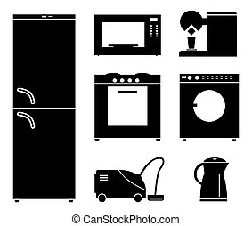 Set of black icons of household appliances.