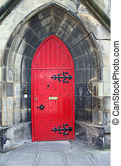 old wooden Church Door - old, red, beautiful wooden Church...
