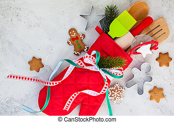 Christmas gift wrapping idea with oven mitt,kitchen utensils...