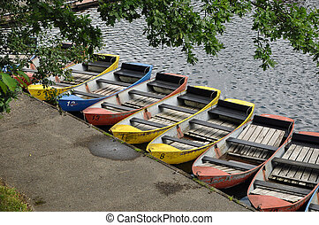 Rowboats - Colored rowboats waiting for Tourists