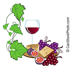 Vineyard - Clip-arts of wine, fruits and cheese
