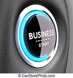 New Business Concept - Entrepreneurship - Blue Push button...
