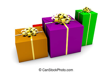 Presents - Group of Presents in Colorful Wrapping Gift Boxes