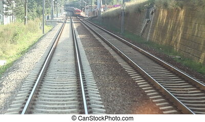 Railroad Passing Another Train