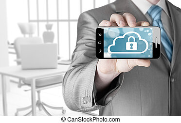 Man holds smart phone with cloud security concept on white...