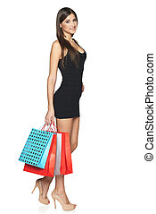 Woman with shopping bags - Lovely woman with shopping bags...