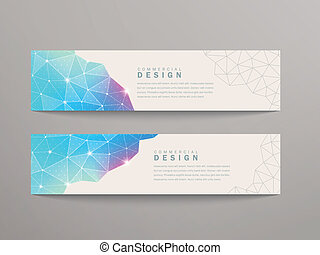 triangle pattern banner template - abstract triangle pattern...
