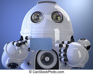 Robot shows a business card. Contains clipping path of entire sc
