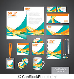 abstract modern corporate identity set template in orange...