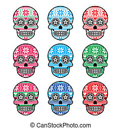 Mexican sugar skull- Nordic pattern - Vector icons set of...