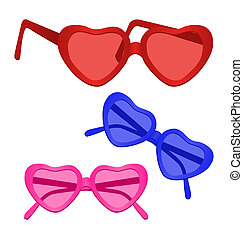 Heart-shaped Sunglasses on white background