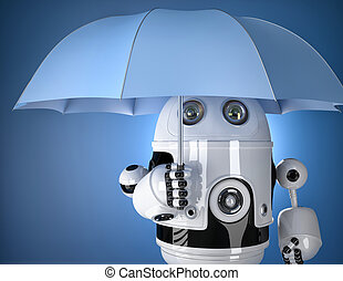 Robot with umbrella Security concept Contains clipping path...