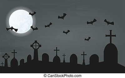 bats and cemetery - cemetery in the night with bats and...