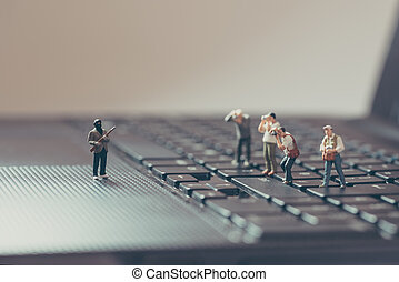 Photograph the crime scene. Photojournalism concept. Macro...