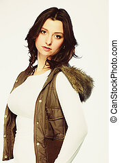 Woman in casual waistcoat. Winter fashion. - Winter fashion....