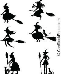 Set of Halloween witches - Set of silhouette black-and-white...