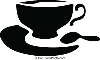 Silhouette of a teacup and teaspoon