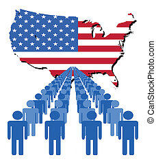people with USA map flag