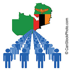 people with Zambia map flag