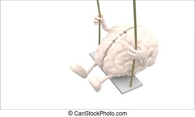 brain and heart on a swing - brain and heart with arms and...