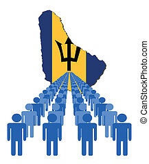 people with Barbados map flag