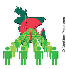 people with Bangladesh map flag - Lines of people with...