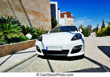 The car parked near modern luxury hotel, Antalya, Turkey