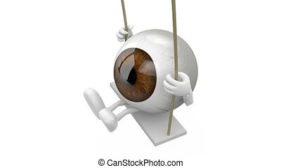 eyeball cartoon on a swing - brown eyeball with arms and...