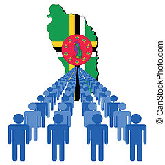 people with Dominica map flag - Lines of people with...