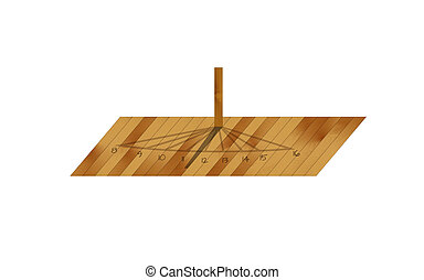 wooden sundial on white background, isolated, vector